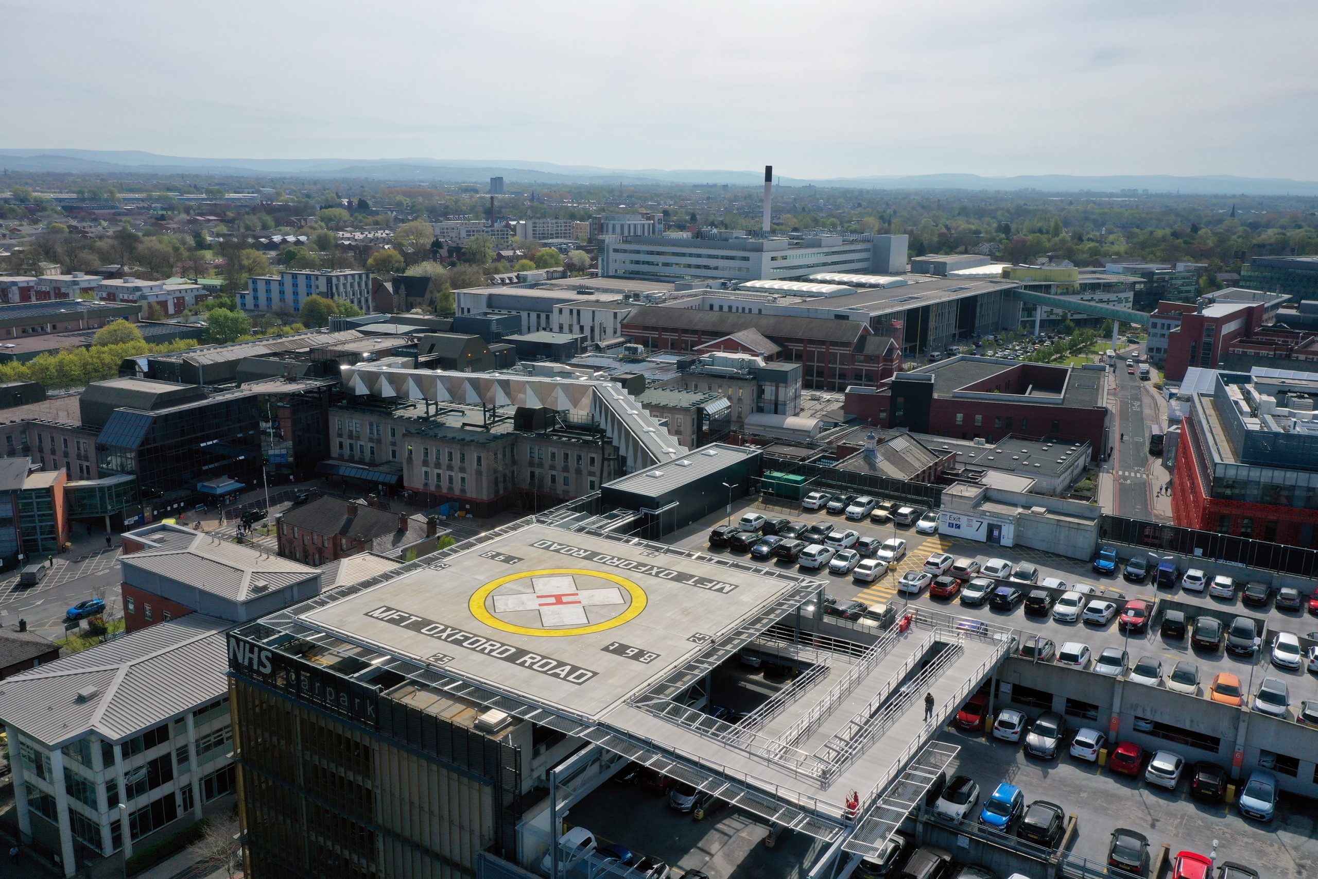 Aerial shot of the Helipad on MFT's Oxford Road Campus site