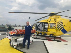 Alistair Rennie, Consultant in Emergency Medicine and Major Trauma at the MRI and RMCH and Group Clinical Lead for Emergency Planning on the helipad