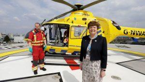 North West Air Ambulance HEMS Paramedic Ben and MFT Chairman Kathy Cowell on MFT's helipad